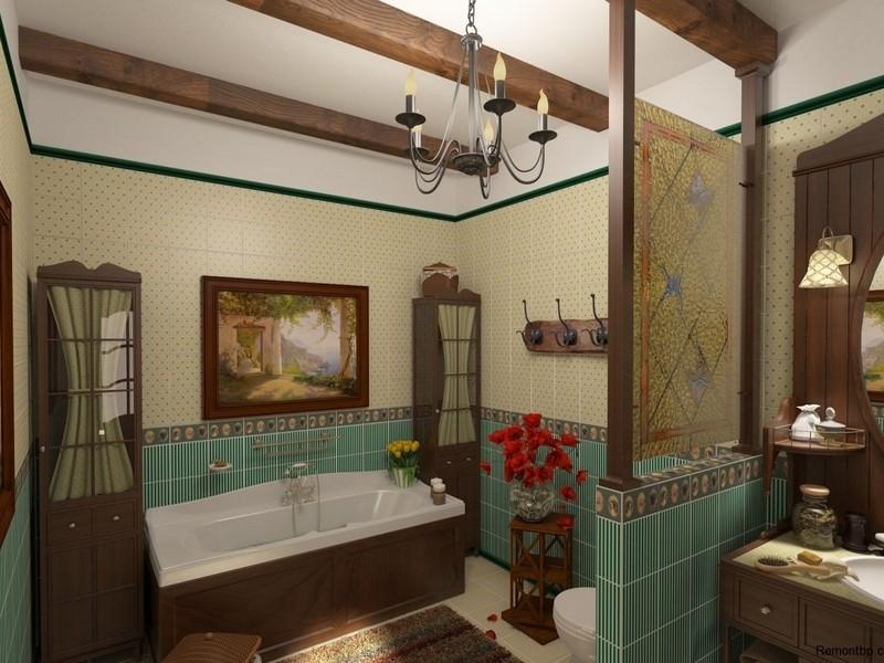 Дизайн ванной комнаты в стиле кантри фото