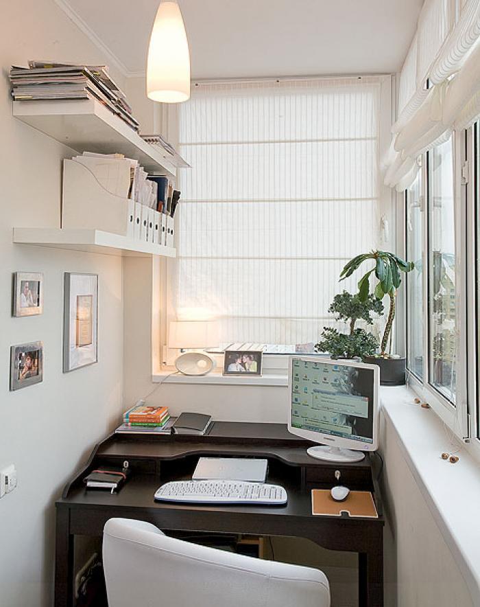 Варианты дизайна балкона под рабочее место.