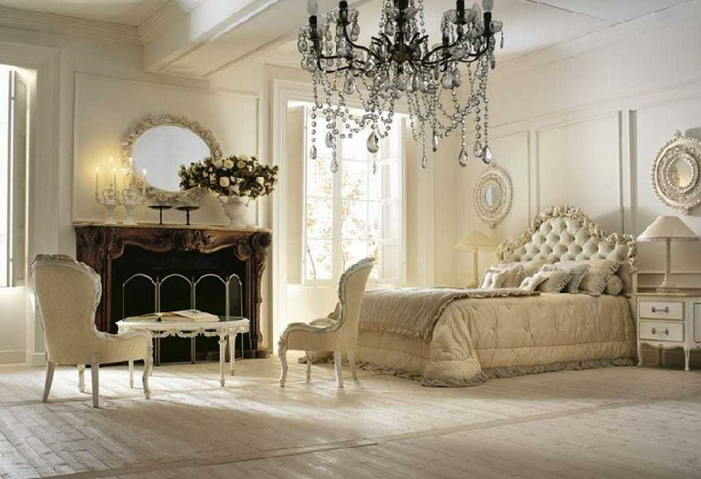 Интерьере спальной комнаты в итальянском стиле