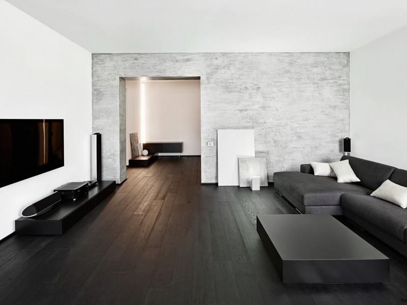 Темный паркет в квартире минимализм