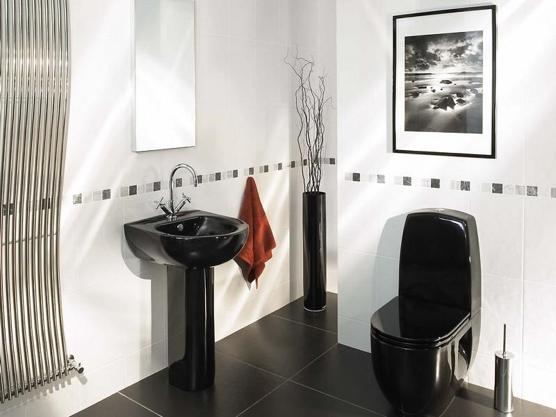 Черный цвет в ванной фото