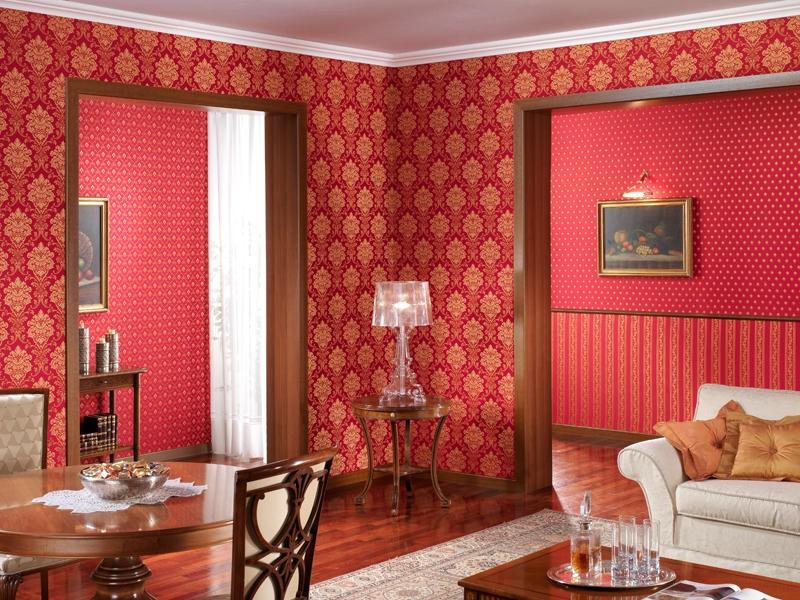 Текстильные обои в интерьере гостиной