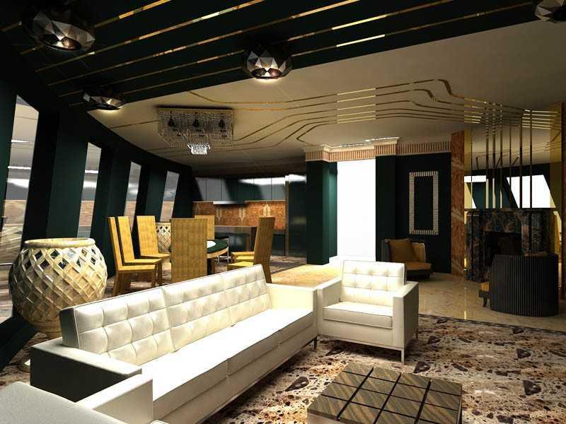 Белая гостиная арт-деко фото интерьер