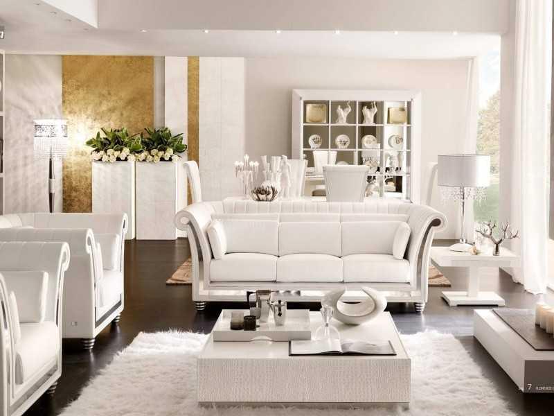 Белая гостиная арт-деко фото
