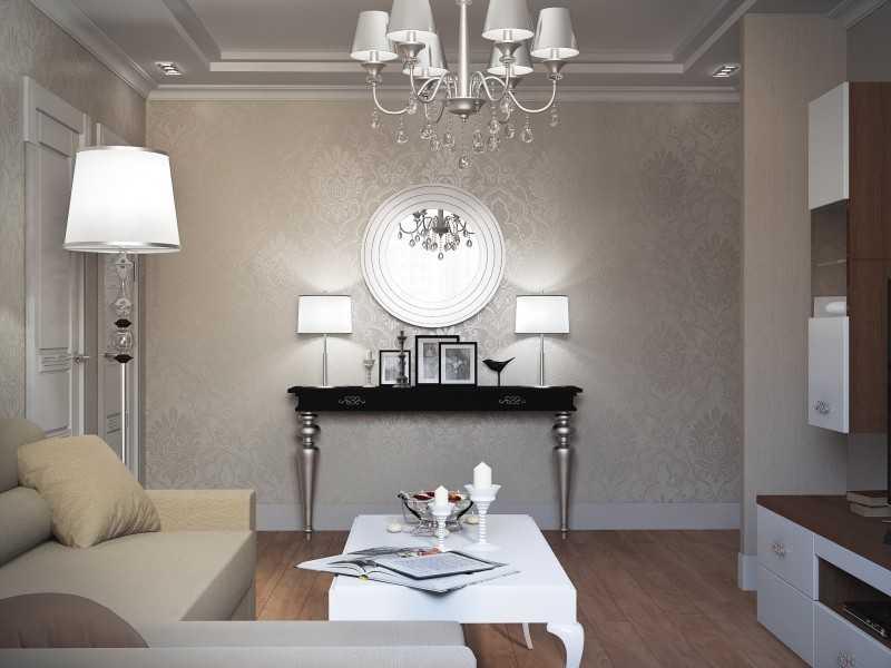 Белая гостиная арт-деко