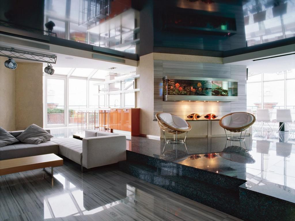 Дизайн гостиной хай-тек фото