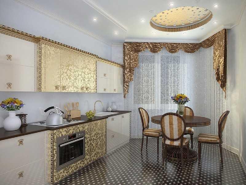 Кухонная мебель арт-деко золотая