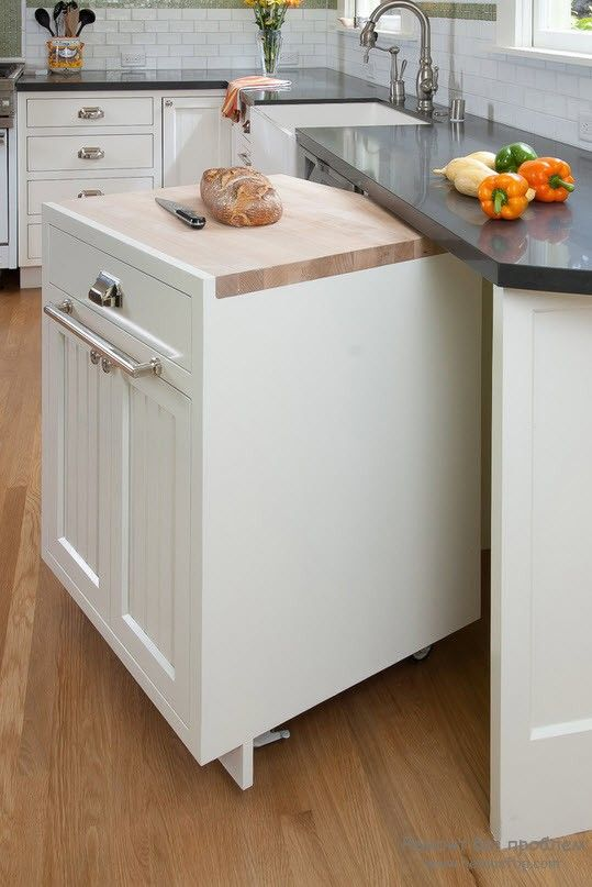 Компактная тумба на колесиках для кухни