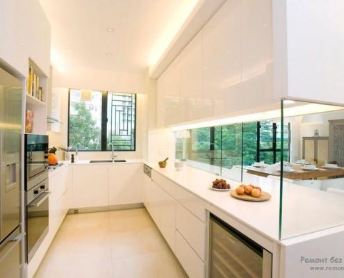 Белая стеклянная кухня