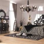 Темная спальня Арт-Деко дизайн интерьера