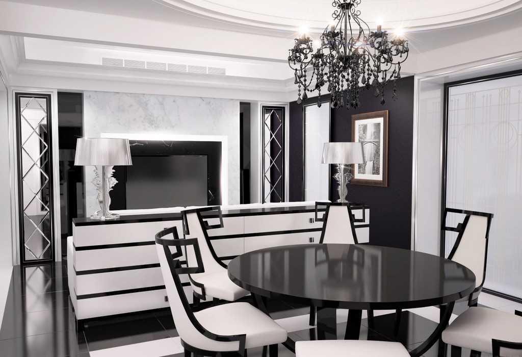 Черно-белые тона стиль арт-деко