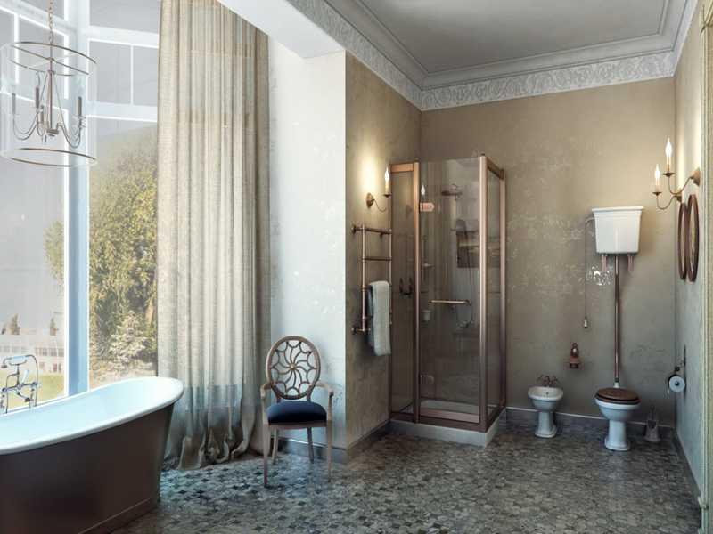 Дизайн ванной комнаты винтаж фото
