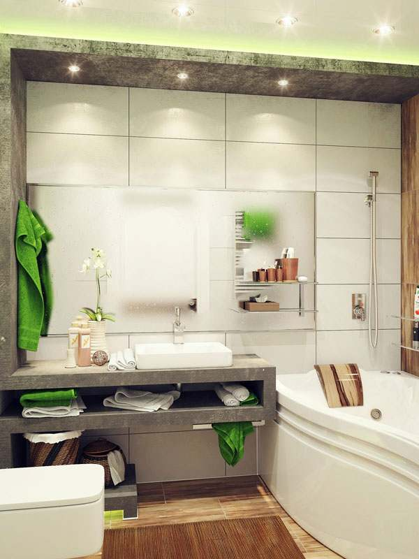 Умывальник в маленькой ванной комнате