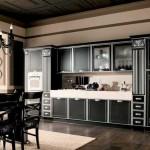 Черная мебель стиль арт-деко для кухни