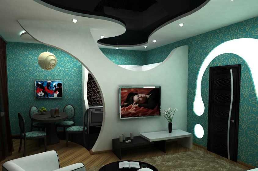Зонирование гостиной с помощью арок