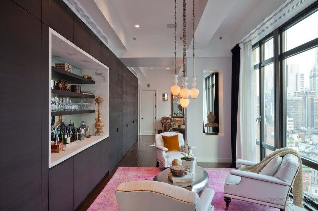 Барная стойка в гостиной, Интерьер и дизайн комнаты с барной стойкой