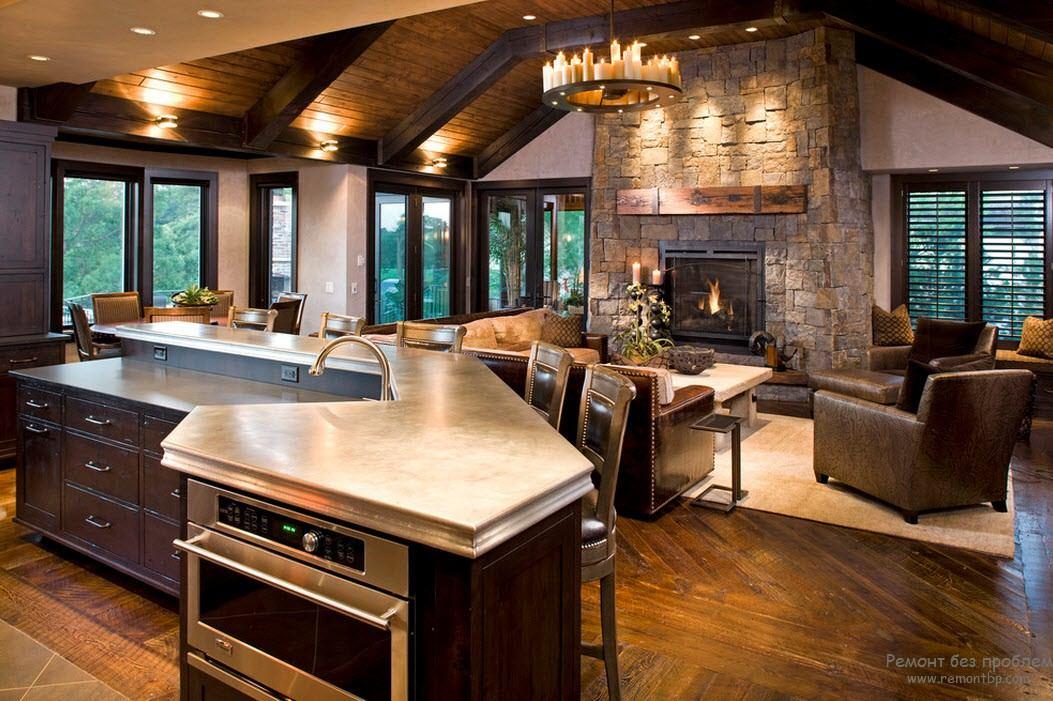 Дизайн кухня совмещенная с гостиной в деревянном доме