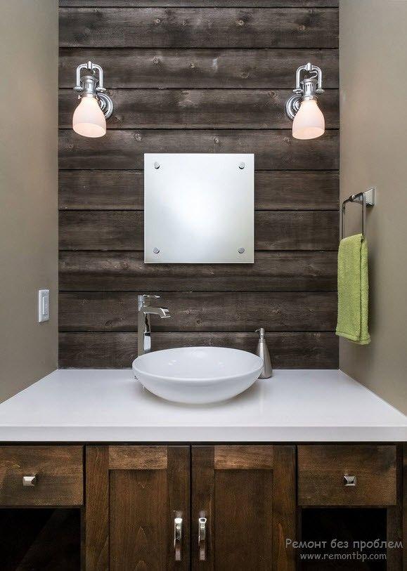 Освещение для деревянной ванной комнаты