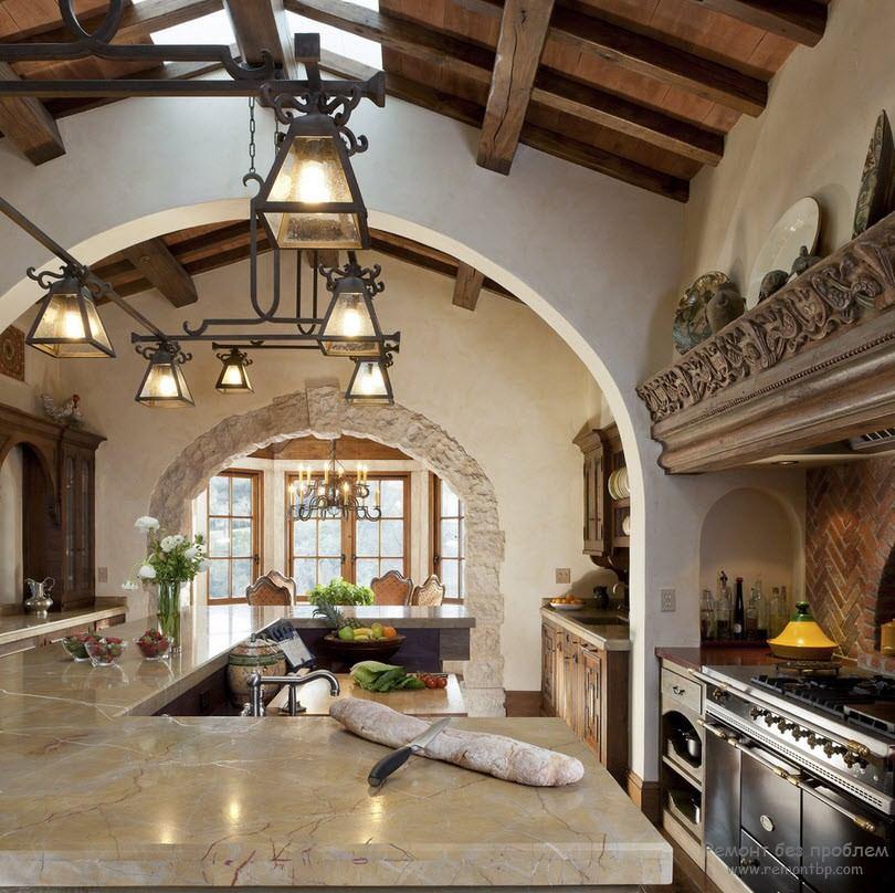 Cottage Style Kitchen Lighting: Средиземноморский стиль в интерьере