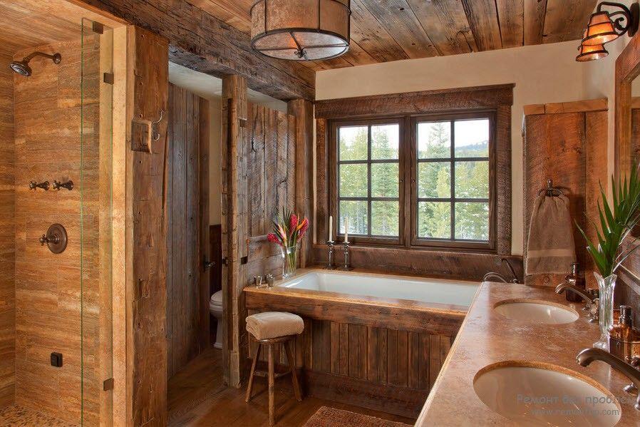 Полное деревянное оформление ванной комнаты