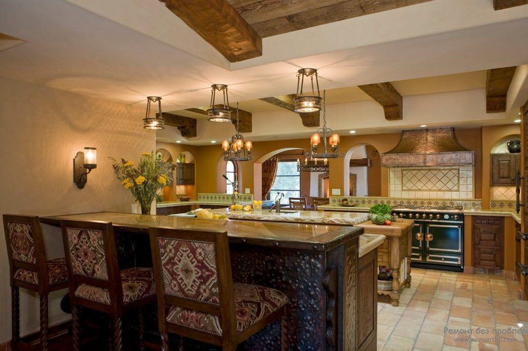 Красивая классическая кухня с барной стойкой
