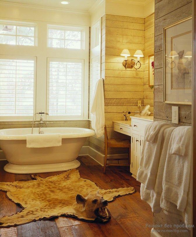 Оригинальное решение деревянной ванной комнаты
