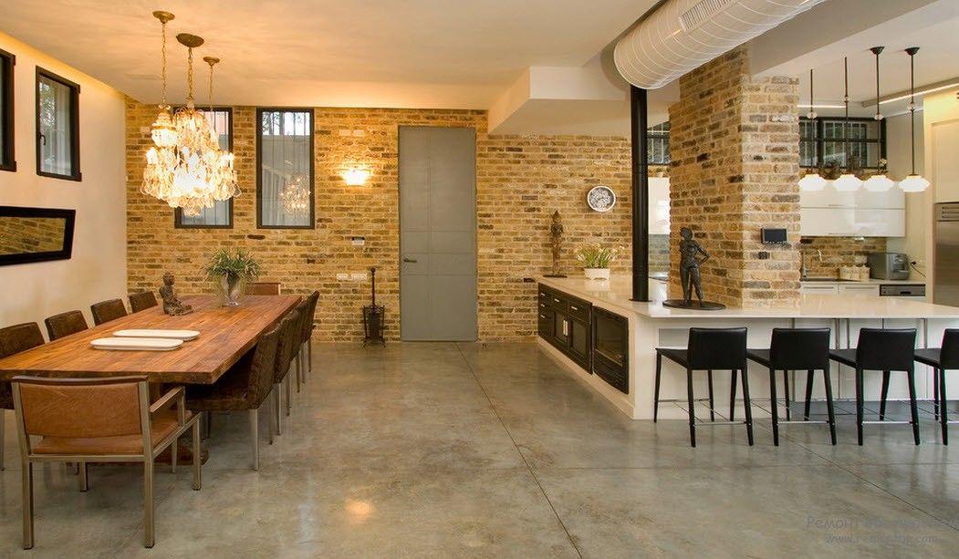 Декорирование кирпичной кладкой кухни и гостиной