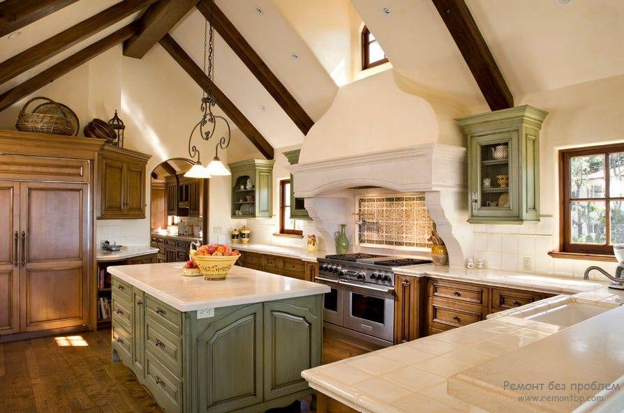 Балки в дизайне кухни