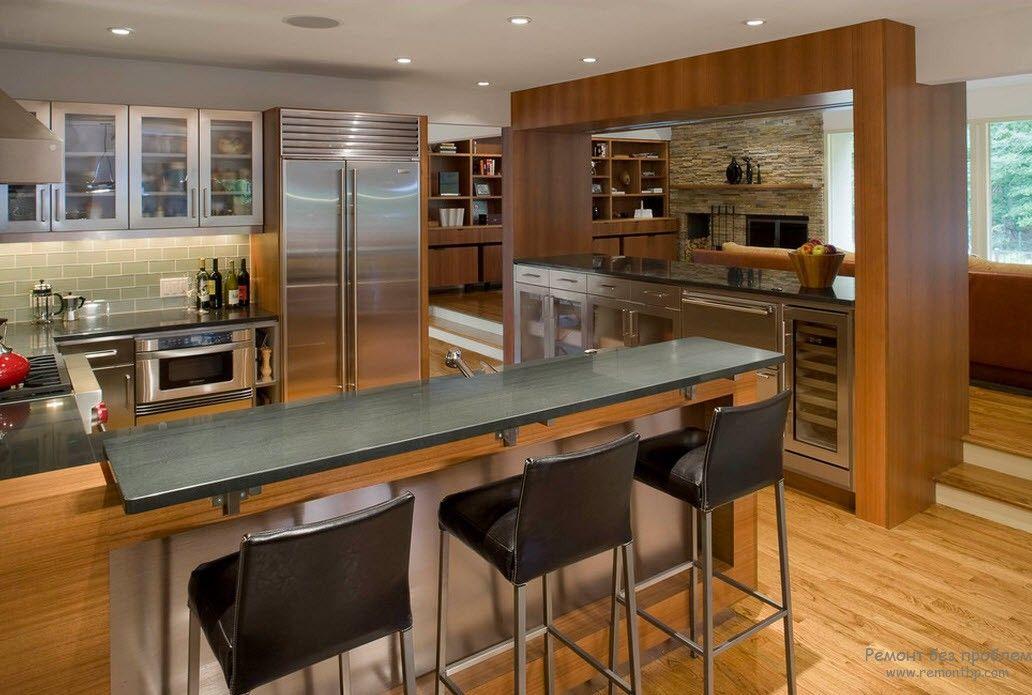 Барная стойка-остров в интерьере кухни