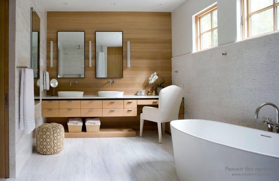 Интерьер деревянной ванной комнаты