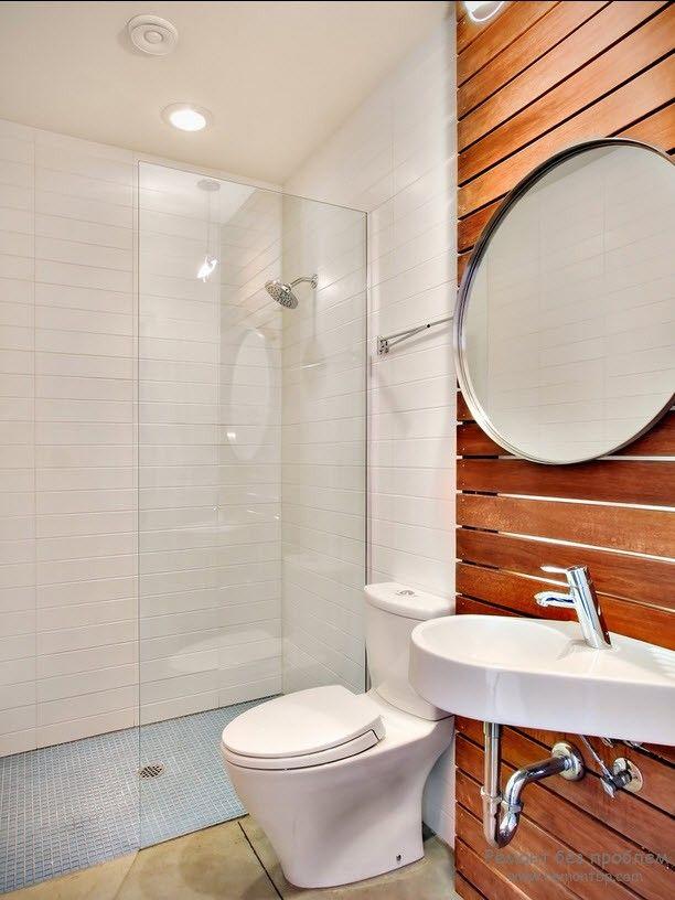 Деревянные стены в ванной комнате