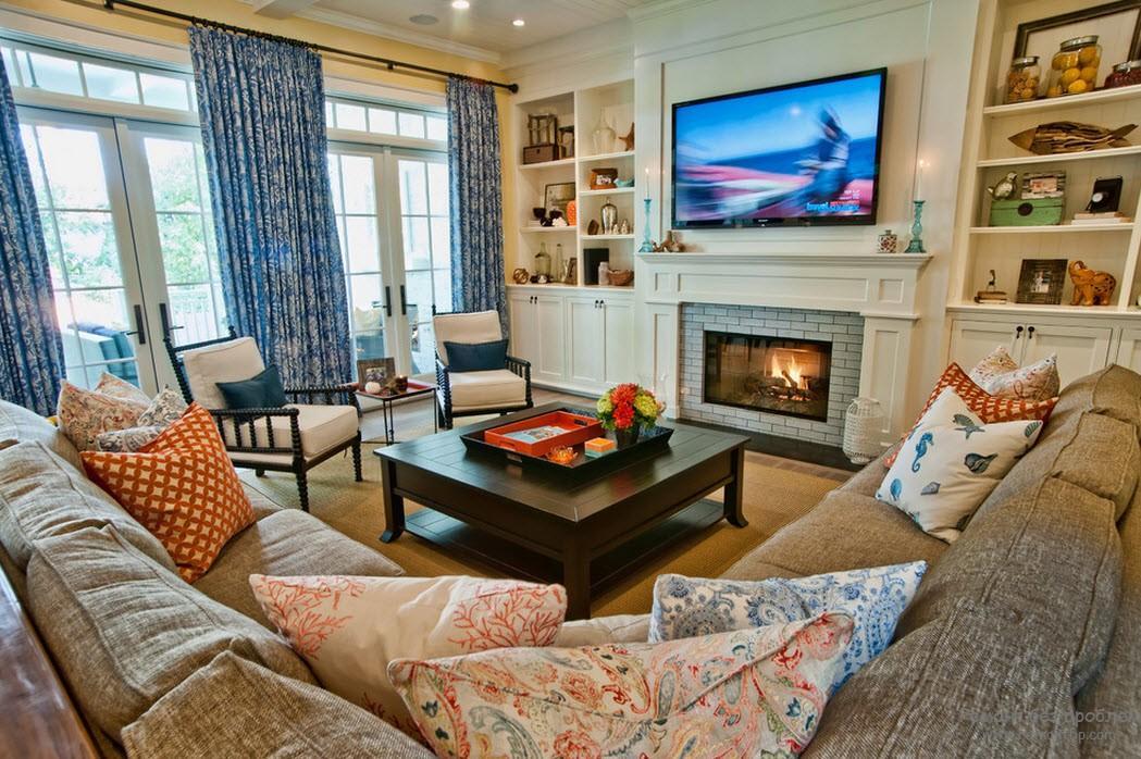 Дизайн гостиной с камином на фото