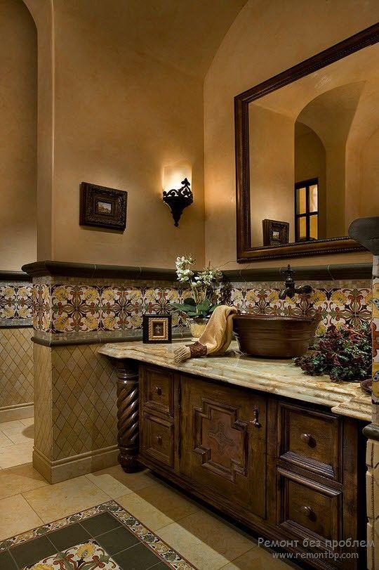 Оформление ванной в средиземноморском стиле