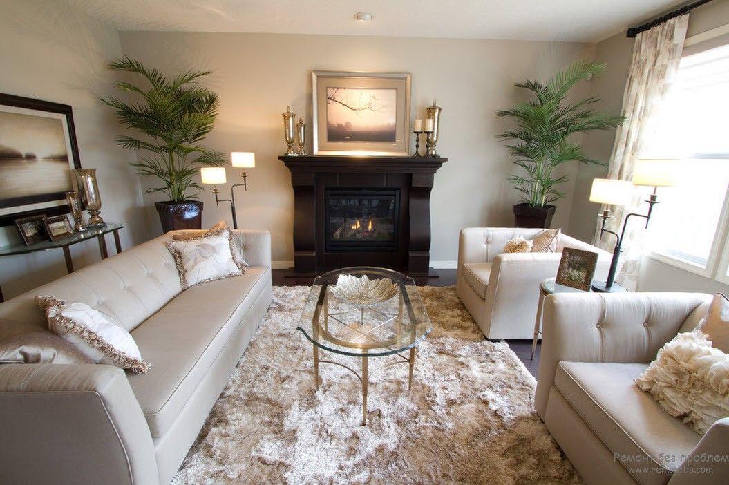 Классический белый стиль в интерьере гостиной