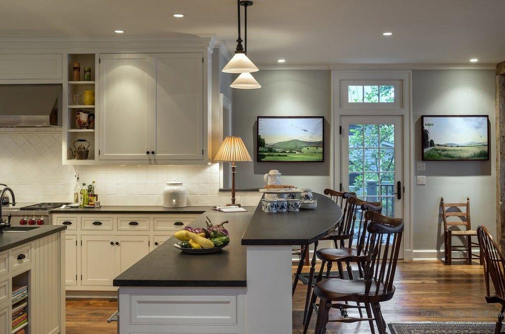Дизайн кухни с двухуровневой барной стойкой
