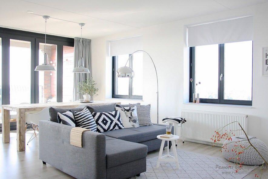 Мягкая мебель с более темным оттенком относительно стен