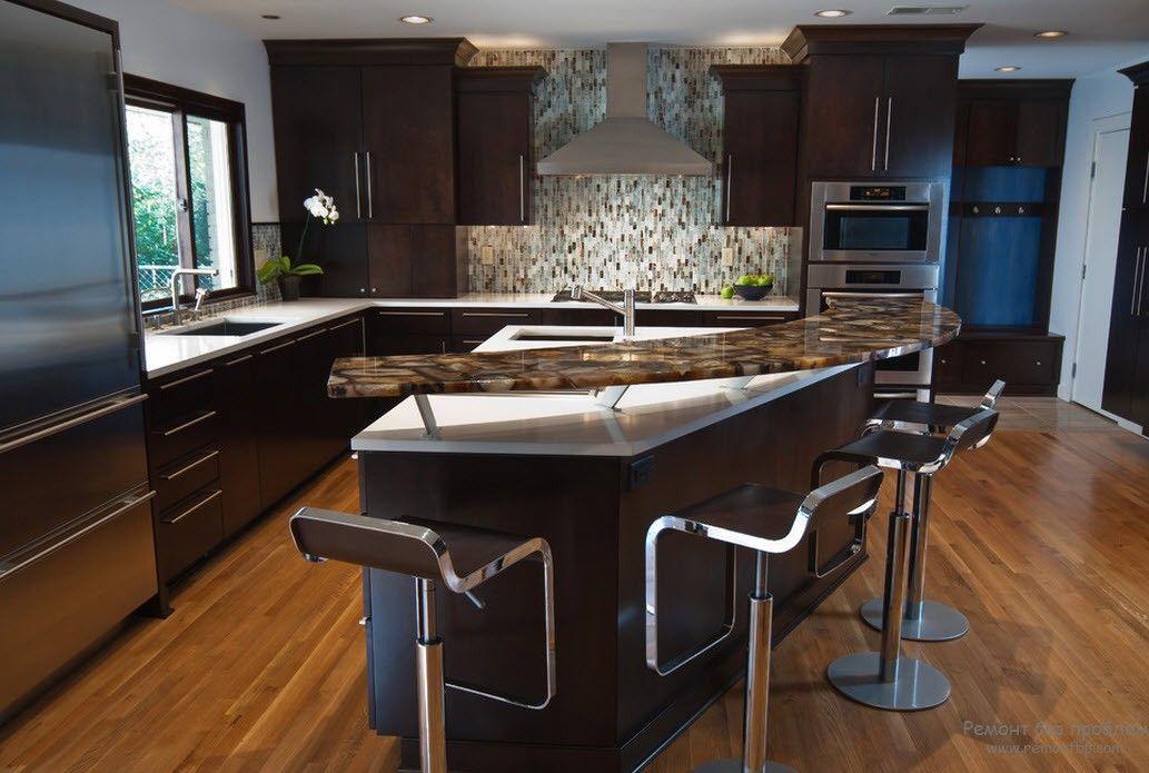 Оригинальный дизайн барной стойки-острова в интерьере кухни