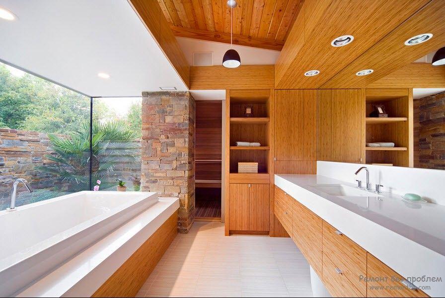 Красивая ванная комната с эфффектным освещением