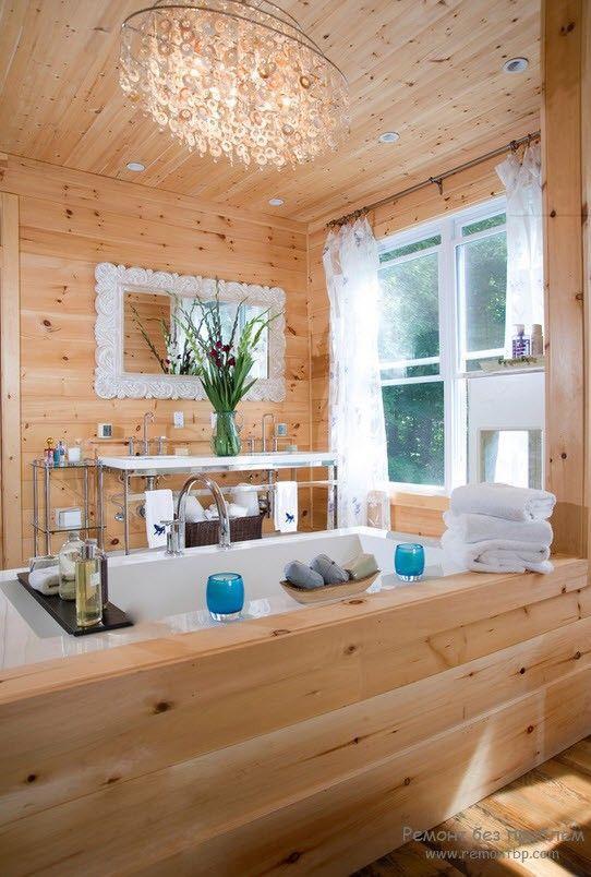 Красивая ванная комната из дерева