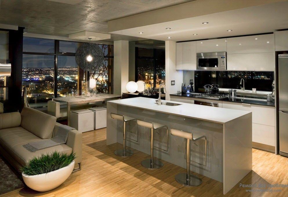 Дизайн гостиной, совмещенной с кухней на фото