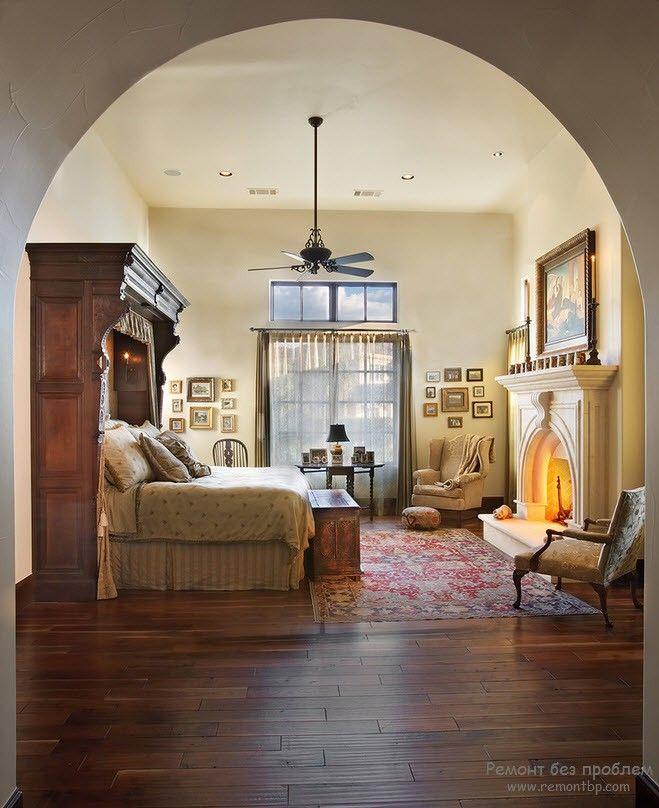 Необычный дизайн кровати в спальне