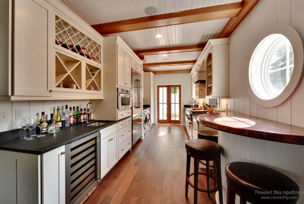 Дизайн параллельной кухни с барной стойкой