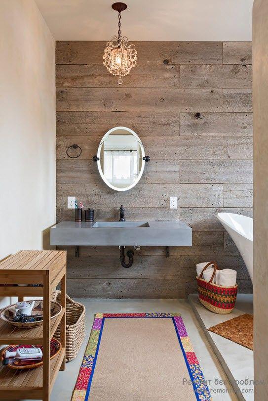 Оформление деревянной ванной комнаты