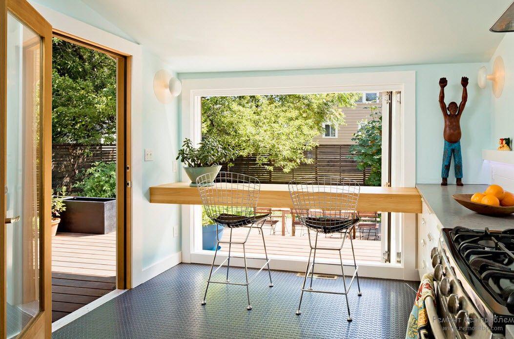 Необыкновенно простой и красивый дизайн кухни с барной стойкой