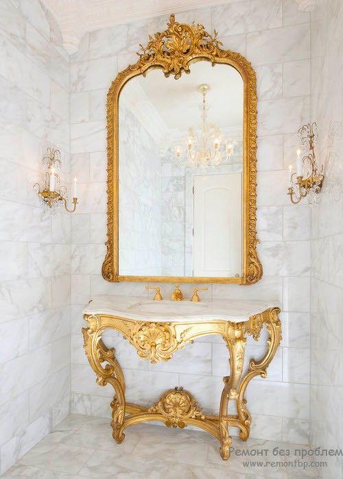 Зеркало со столиком в золотом обрамлении под старину