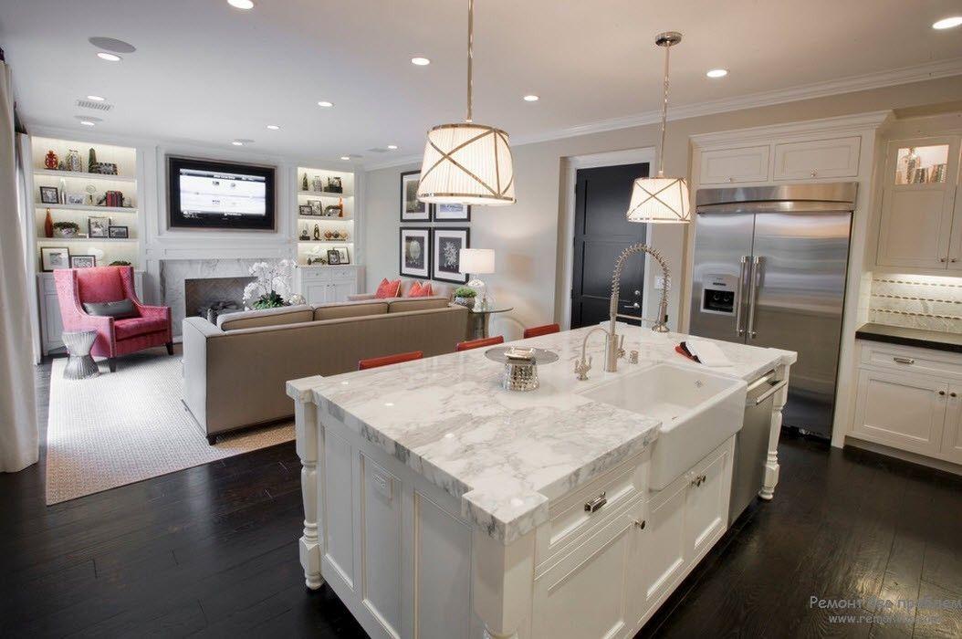Зонирование в интерьере гостиной, совмещенной с кухней