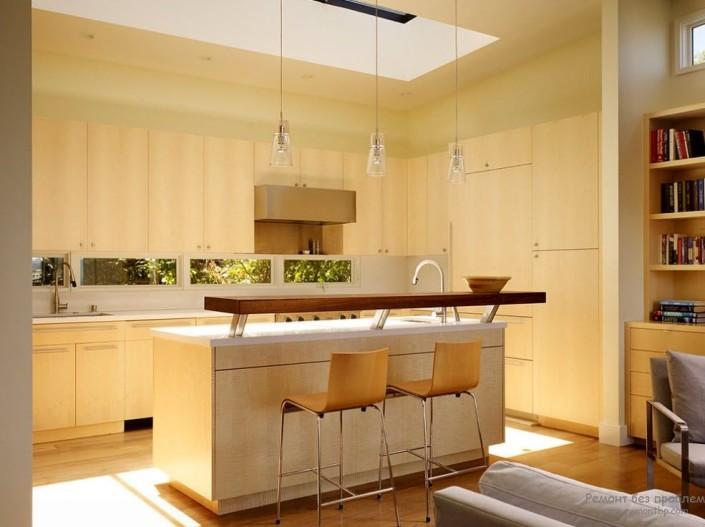Барная стойка в центре кухни
