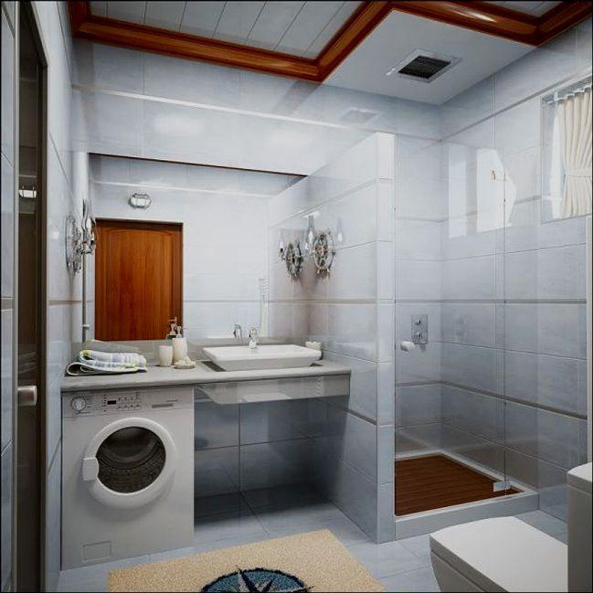 Узкая ванная комната дизайн фото со стиральной машиной