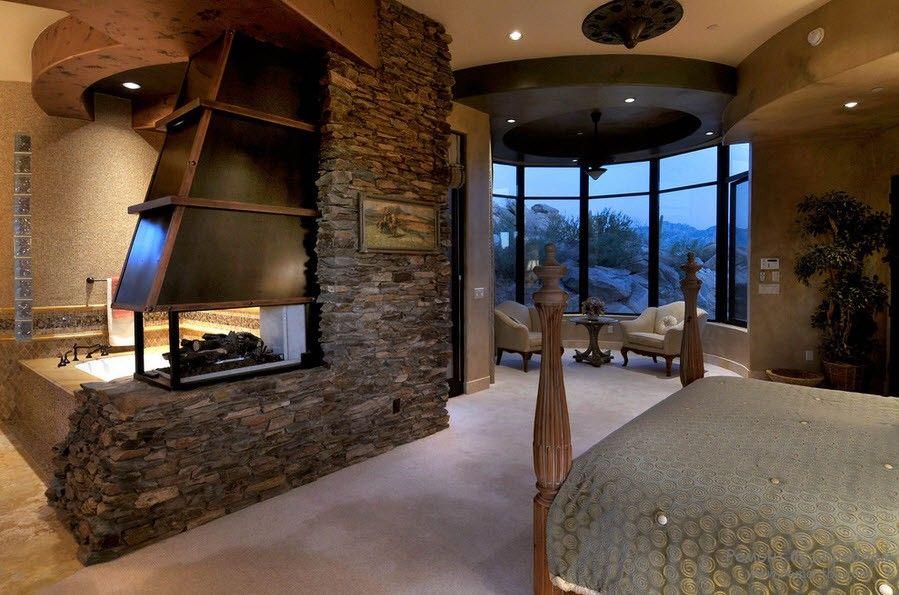 Необыкновенно роскошная и богатая спальня с отделкой из декоративного камня