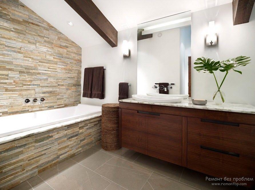 Ванная с камнем в классическом стиле